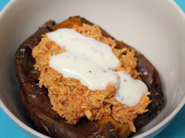 Crockpot magic tricks (slow cooker Buffalo chicken stuffed sweet potatoes)