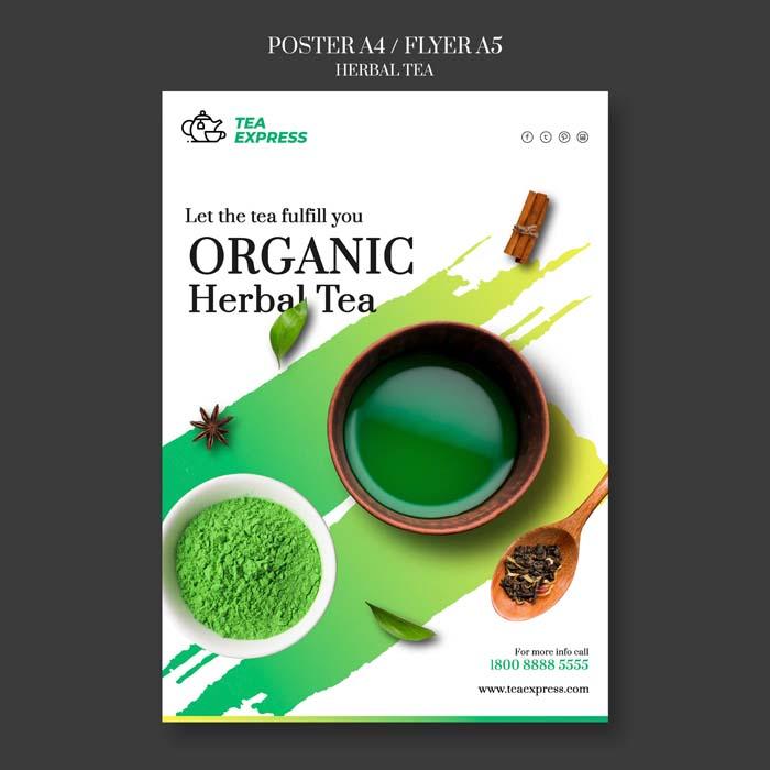 Herbal Tea Poster PSD Template