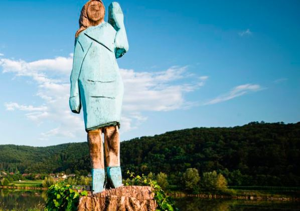 The statue of Melania Trump in her hometown in Slovenia that has generated opinions and ridicule