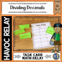 Use Task Cards for Havoc Math Relay Game; cover for Dividing Decimals Havoc Relay Game