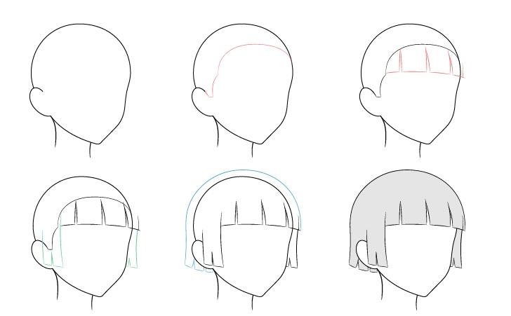 Anime rambut dipangkas angin 3/4 tampilan menggambar langkah demi langkah