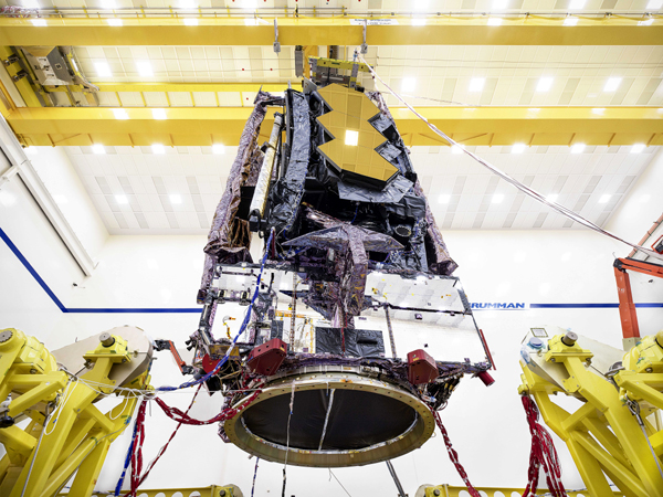 NASA's James Webb Space Telescope is stowed in its launch configuration prior to undergoing environmental testing at the Northrop Grumman facility in Redondo Beach, California.