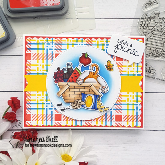 Kitty Picnic Card by Andrea Shell | Newton's Picnic Stamp Set and Plaid Stencil Set by Newton's Nook Designs
