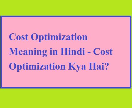 Cost Optimization Meaning in Hindi - Cost Optimization Kya Hai?
