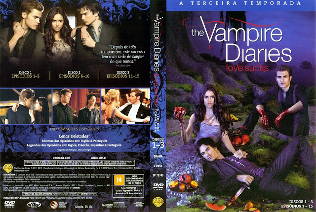 Capa DVD The Vampire Diaries Terceira Temporada Discos 1 a 3 (Oficial)