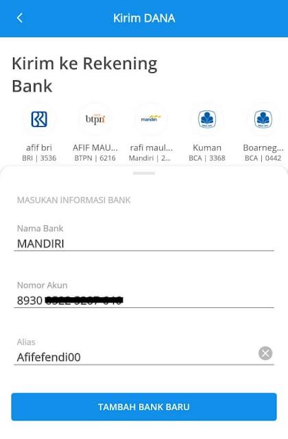 Kirim ke akun bank
