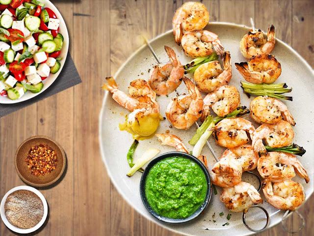 Shrimp Garlic Baked Skewers for Mother's day Dinner