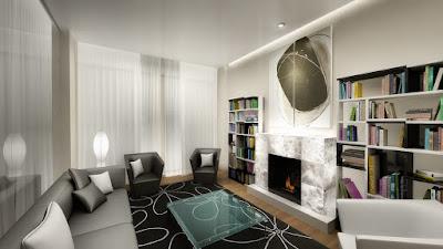 Perspective 3d salon hôtel de luxe avec bibliothèque