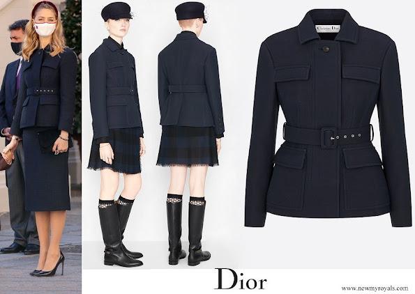 Beatrice Borromeo wore Dior safari jacket with belt navy blue wool and silk