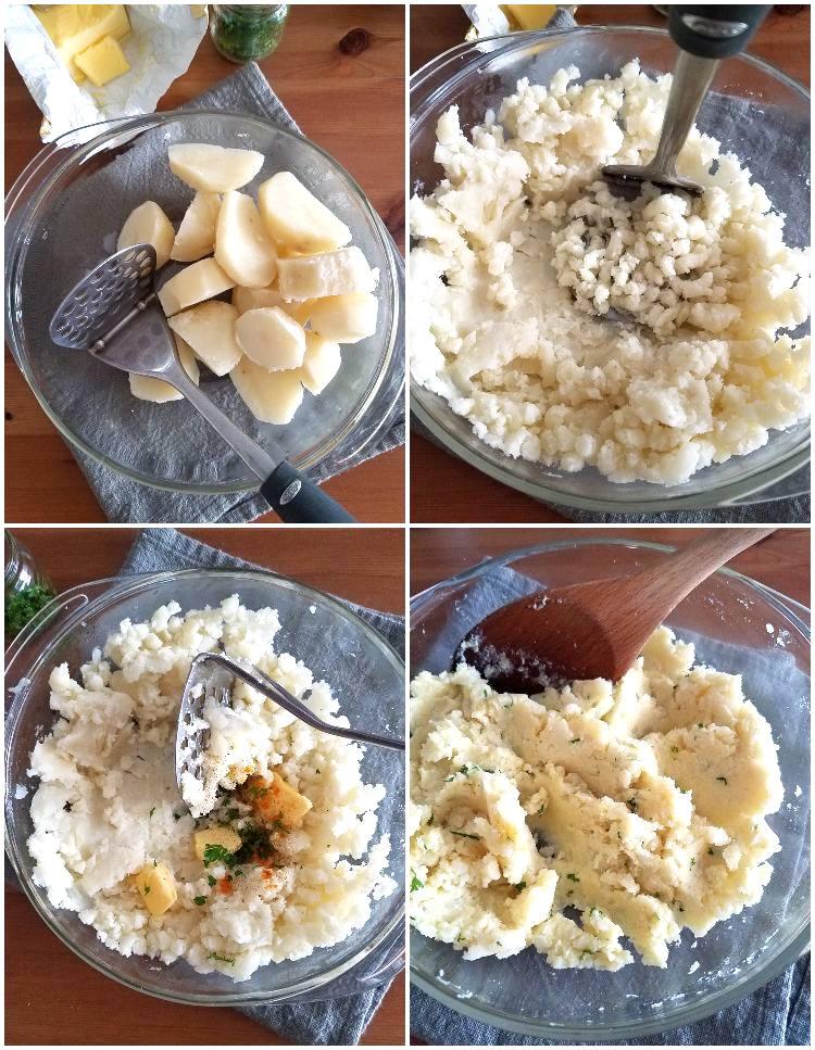 Preparación de la base de puré de papas, paso a paso