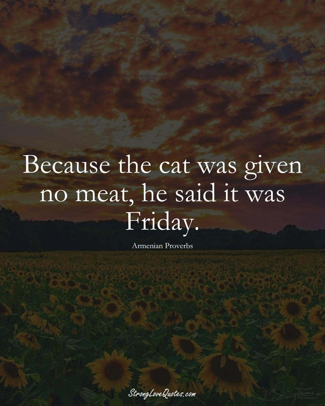 Because the cat was given no meat, he said it was Friday. (Armenian Sayings);  #AsianSayings