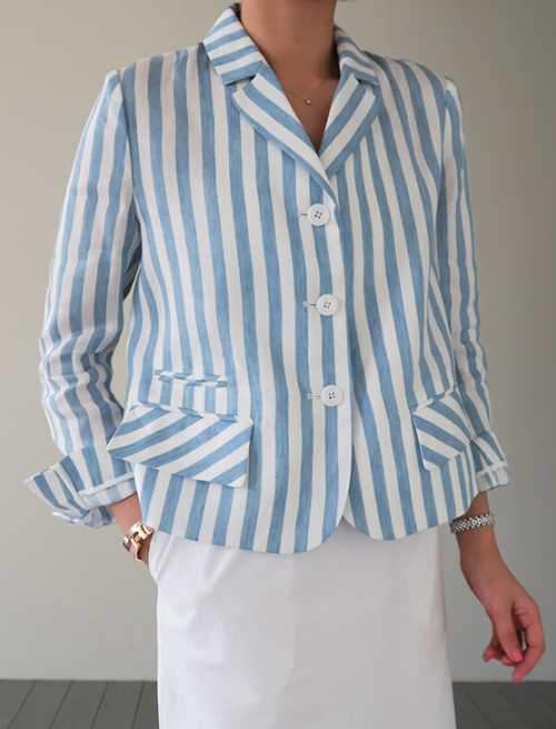 Short Stripe-Patterned Blazer