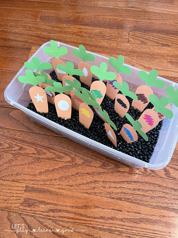 Feed the Bunny Color & Shape Carrots Free Printables