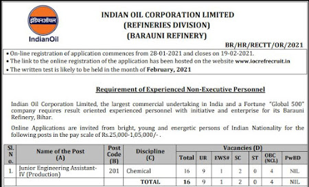 Apply For Junior Engineer Assistant Posts in IOCL