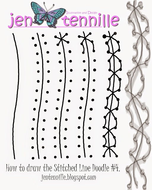 How to Draw the Stitched Line 4 Doodle by Jen Tennille