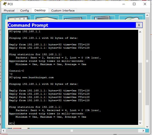 Hasil Pengecekan DNS Server dari PC Klien