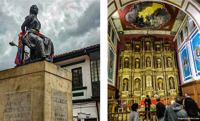 Monumento a La Pola e Igreja da Candelaria, Bogotá, Colômbia
