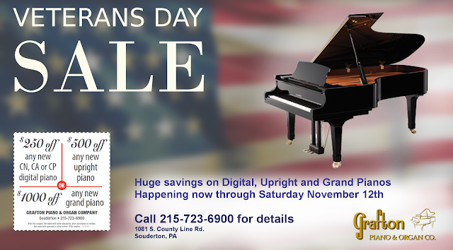 Artwork for Grafton Veterans Day Sale, digital, verticals and grand pianos