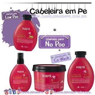 Shampoo (Low Poo), Condicionador, Máscara e Fluido de Brilho (Liberados para No Poo) Lisos Radiantes - Purità
