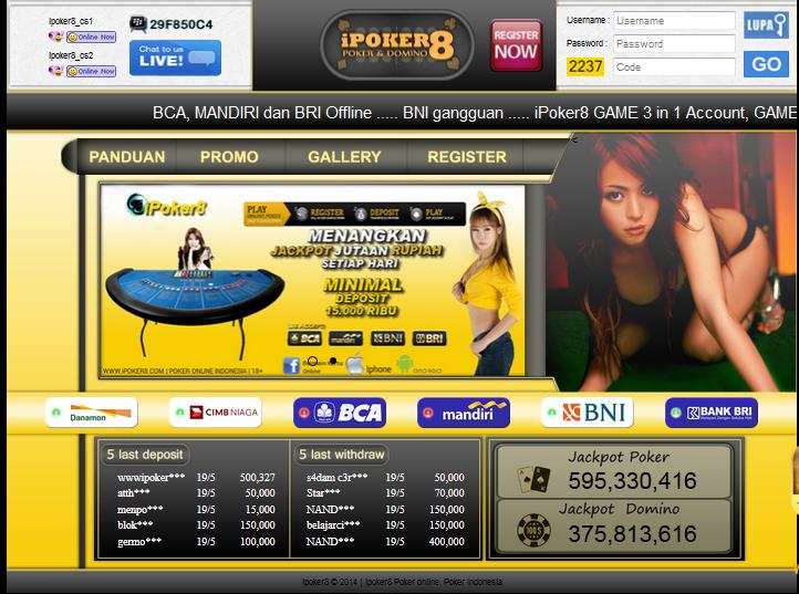 IPOKER8 Situs Agen Judi Poker dan Domino Online Terpercaya