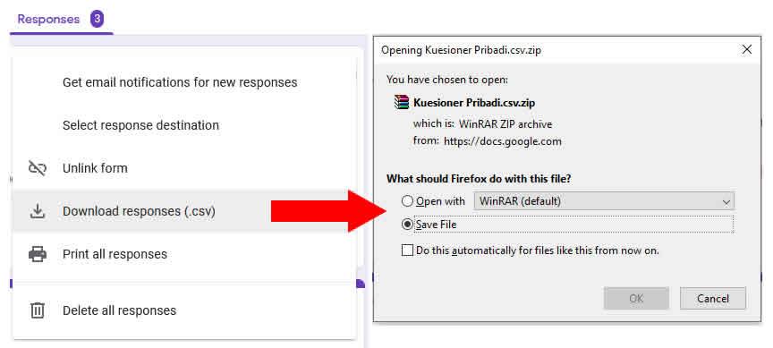 download file csv google form