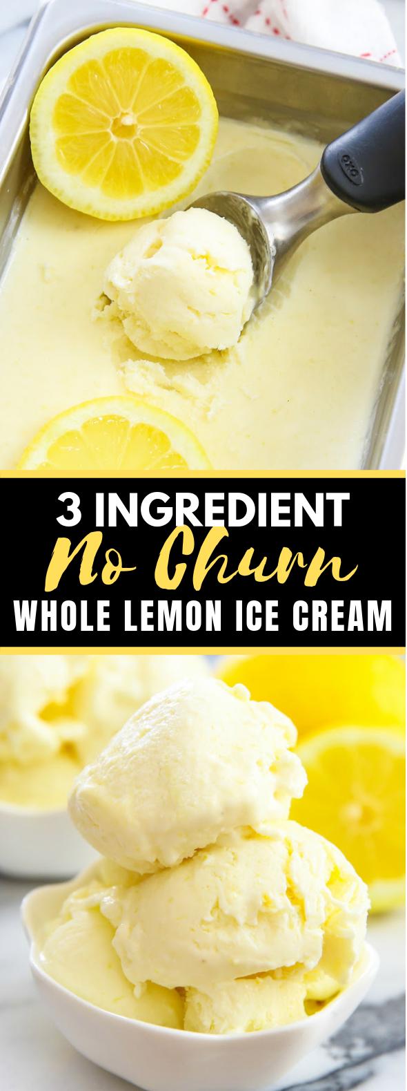 3 INGREDIENT NO CHURN WHOLE LEMON ICE CREAM #desserts #summer