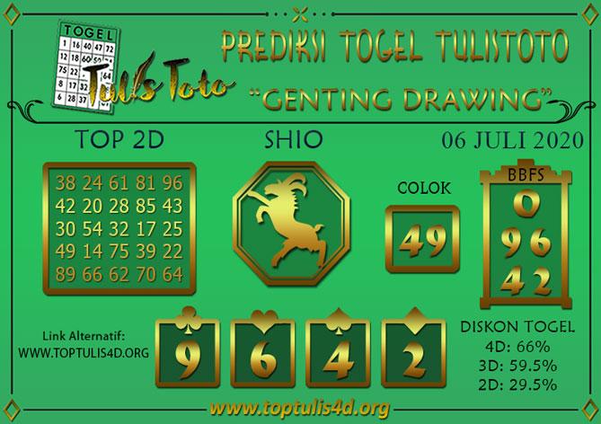 Prediksi Togel GENTING DRAWING TULISTOTO 06 JULI 2020