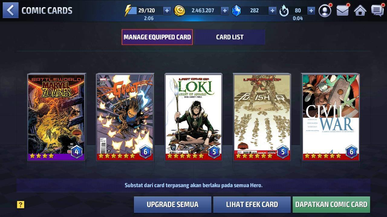 Tips build card marvel future fight