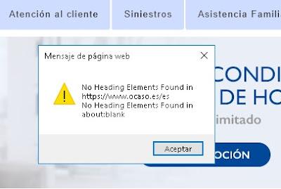 Error que indica la falta de encabezados en la web de Ocaso