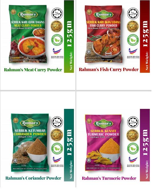 rempah kari ayam dan daging rahman, rahman spice, serbuk kunyit keluaran islam,