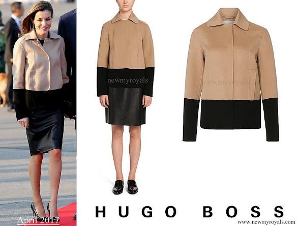 Queen Letizia wore Hugo Boss Jadabia Wool Cashmere Color Jacket