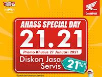 AHASS Spesial Day 21.21,manjakan konsumen dengan Cek Motor Gratis Dan Diskon Jasa Servis
