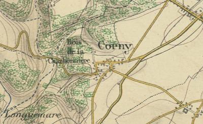 Corny eure Carte des environs de Paris dressée avec le concours du Touring-Club de France Les Andelys  1911 - détail (c) BHVP