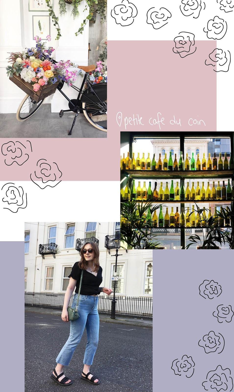 collage of pictures from the florist and petite cafe du coin in liverpool