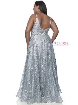 A-line Blush Prom Plus Size Silver Shadow Color Dress back side