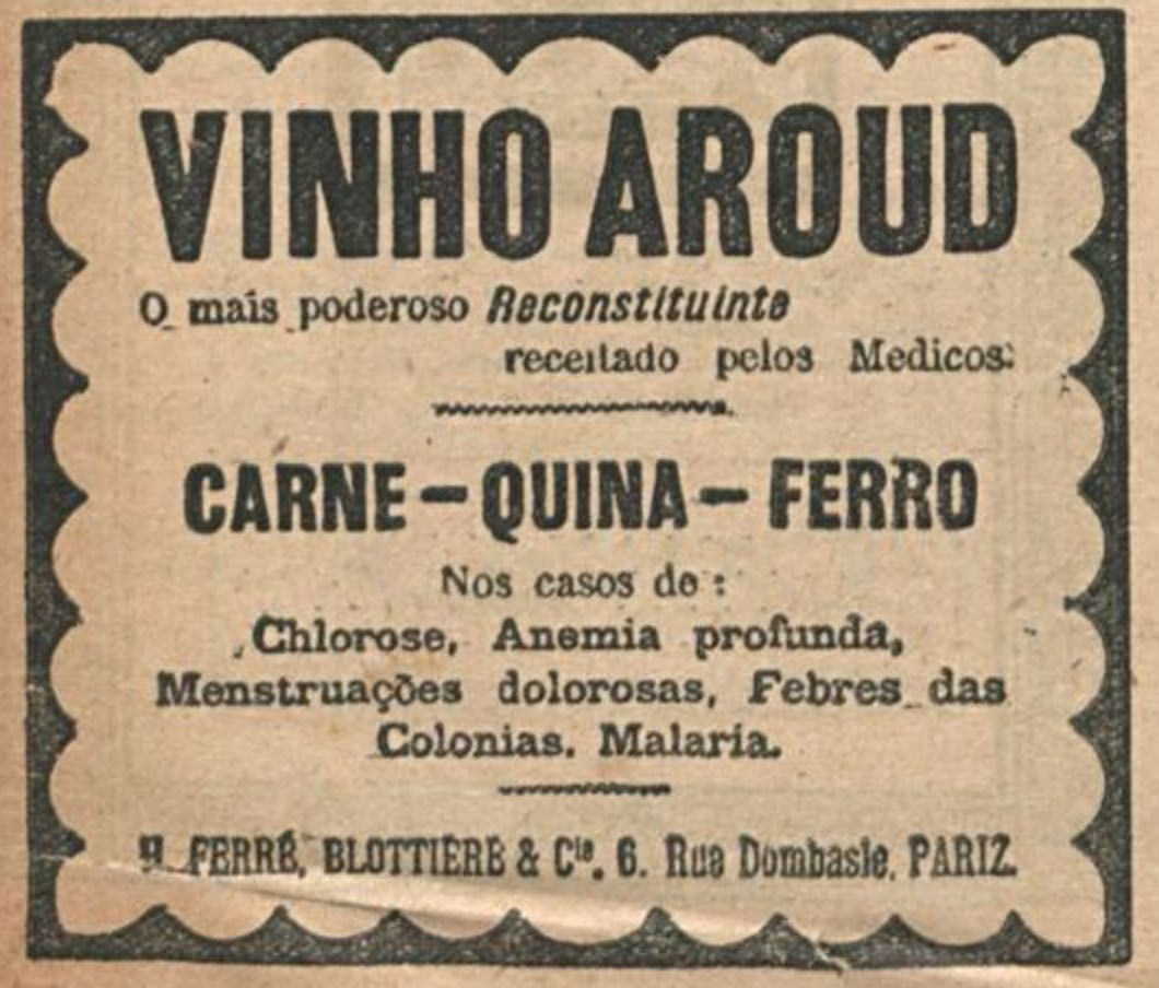Propaganda antiga veiculada em 1920 que promovia o Vinho Aroud