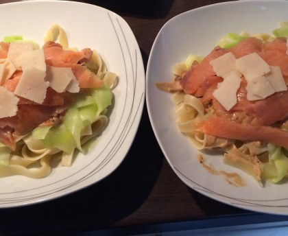Duo of tagliatelle with prawns and smoked salmon
