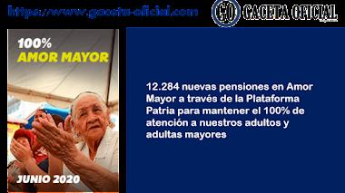 Gaceta Oficial Listado de 12.284 nuevas pensiones en Amor Mayor Junio 2020