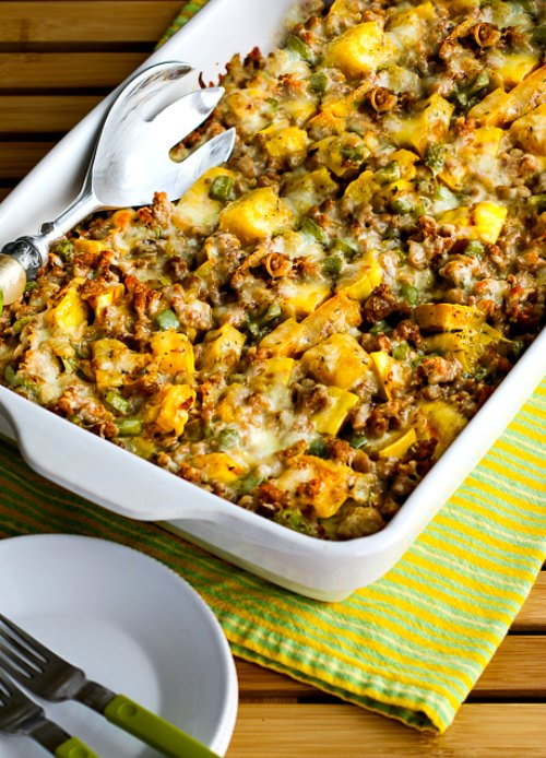Delicata Squash and Sausage Gratin (Gluten-Free) found on KalynsKitchen.com