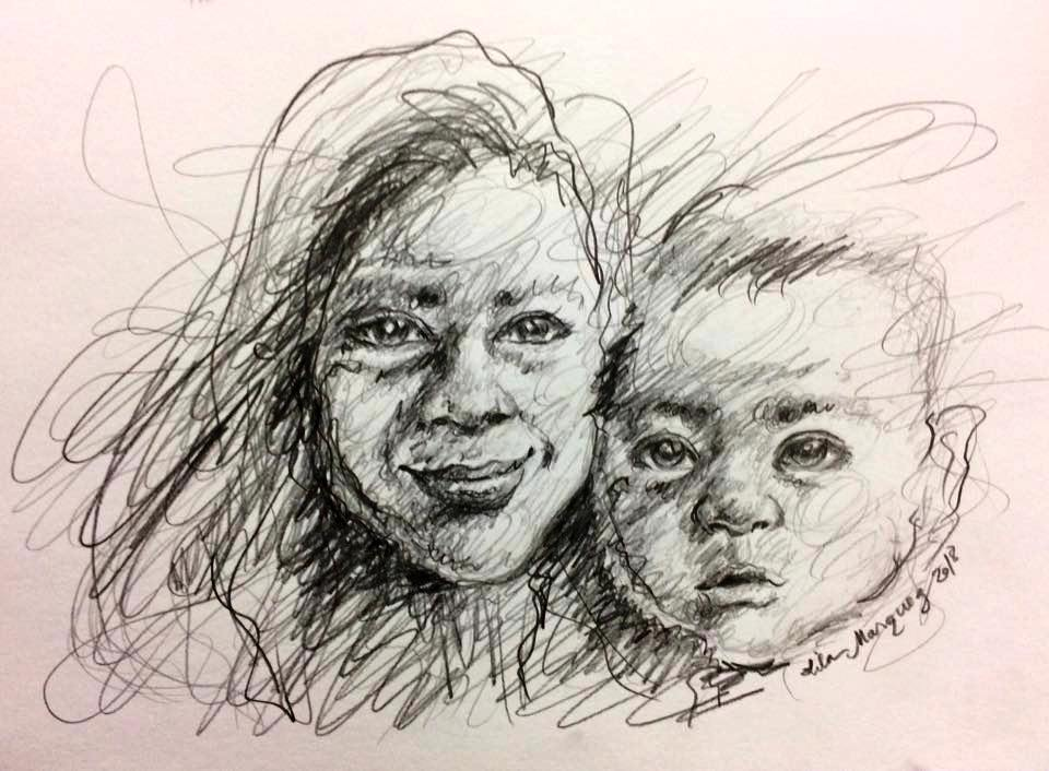 Lila and Ali by Lila Marquez (pencil on paper, 2018)