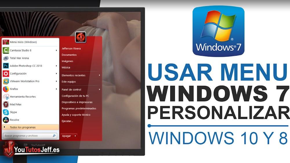 Como Poner el Menú de Inicio de Windows 7 en Windows 10 y 8 - Cambiar Menú de Inicio