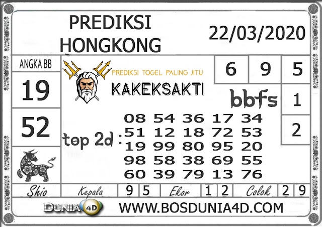 Prediksi Togel HONGKONG DUNIA4D 22 MARET 2020