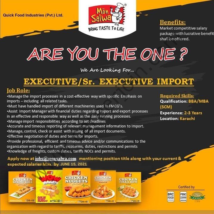 jobs@monsalwa.com - Quick Food Industries Pvt Limited Jobs 2021 in Pakistan