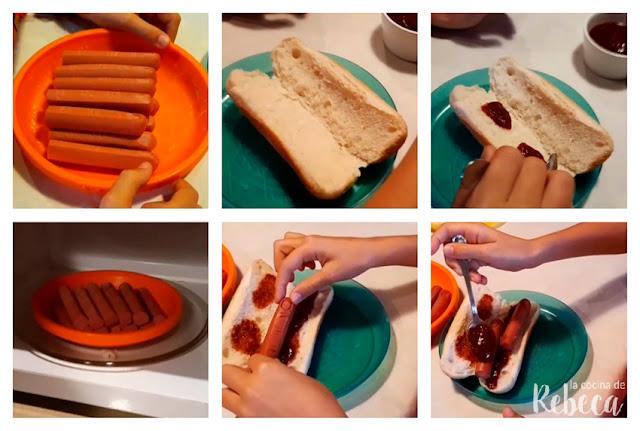 Receta de perritos calientes para Halloween: montaje
