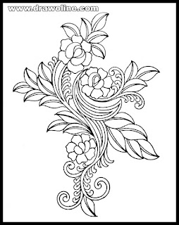 machine embroidery sketch designs/Embroidery design hand drawn.