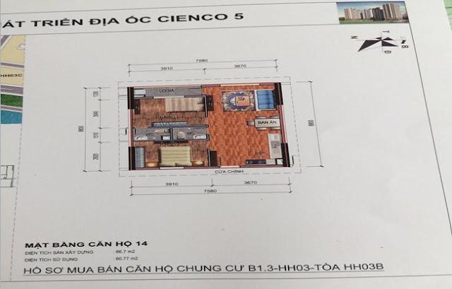 Sơ đồ thiết kế căn hộ 14 chung cư B1.3 HH03B Thanh Hà Cienco 5