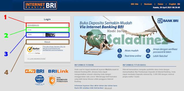 Halaman login IB BRI