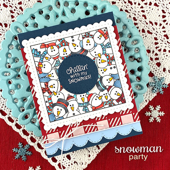 Snowman card by Jennifer Jackson | Snowman Party Stamp Set, Frames Squared Die Set, Sky Borders Die Set and Gingham Stencil by Newton's Nook Designs #newtonsnook #handmade