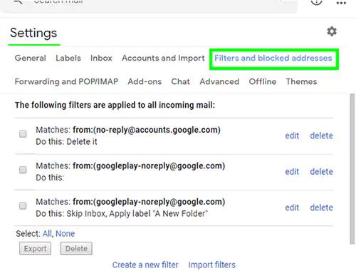 عوامل تصفية البريد الإلكتروني