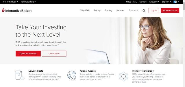 واجهة موقع شركة Interactive Brokers
